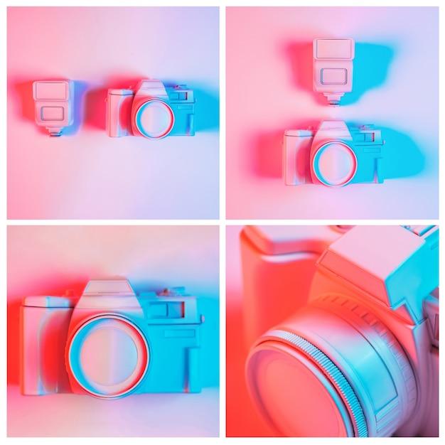 Primo piano del collage dipinto della macchina fotografica contro fondo rosa Foto Gratuite