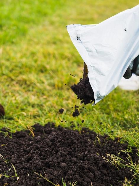 Primo piano del giardiniere che versa terreno dalla mano su prato inglese Foto Gratuite