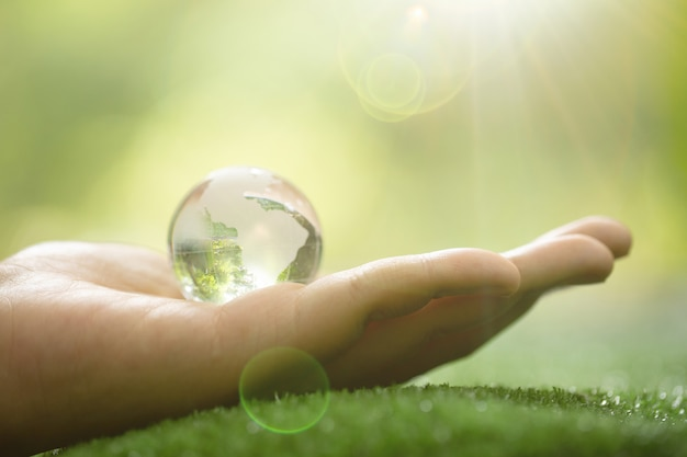 Primo piano del pianeta verde nelle tue mani. salva la terra. Foto Gratuite