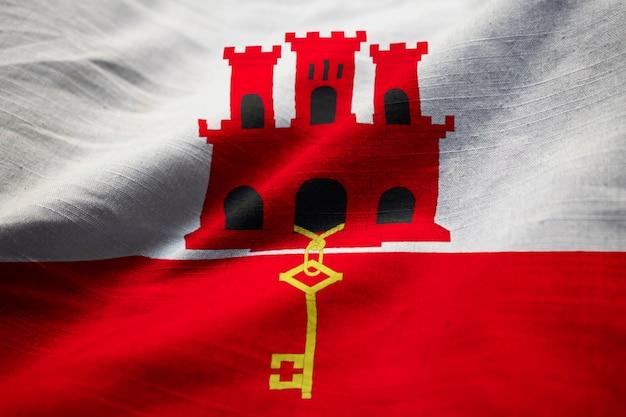 Primo Piano Della Bandiera Arruffata Di Gibilterra Bandiera Di