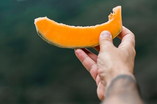 Primo piano della mano che dà fetta di muschio melone Foto Gratuite
