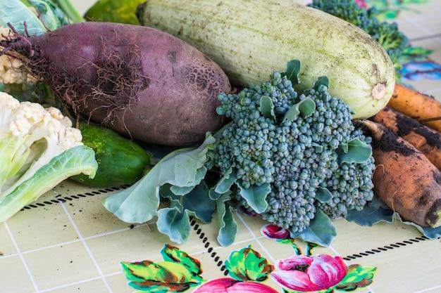 Primo piano delle rape di verdure appena raccolte, delle barbabietole, delle carote, del midollo rotondo, dei pomodori, del cetriolo, delle zucchine, dei fagioli, dei broccoli, della barbabietola. raccolta aytumn. natura morta di verdure Foto Premium