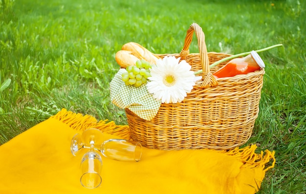 Primo piano di bicchieri di vino vuoti sulla copertina, cestino da picnic sull'erba verde Foto Premium