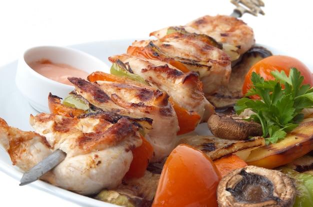 Primo piano di kebab Foto Premium