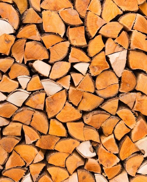 Primo piano di legna da ardere tagliata Foto Premium