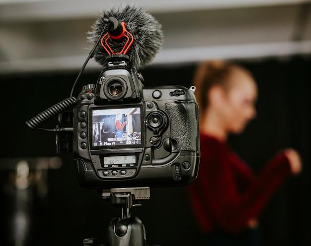 Primo piano di uno schermo della videocamera digitale Foto Premium