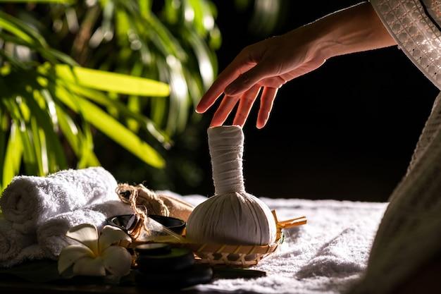Primo piano: mani femminili in possesso di palla di erbe caldo per massaggio tailandese Foto Premium