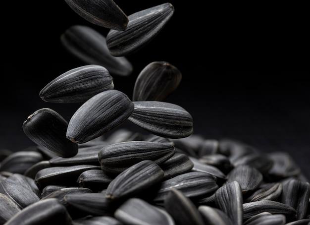 Primo piano nero dei semi di girasole con lo spazio della copia Foto Premium