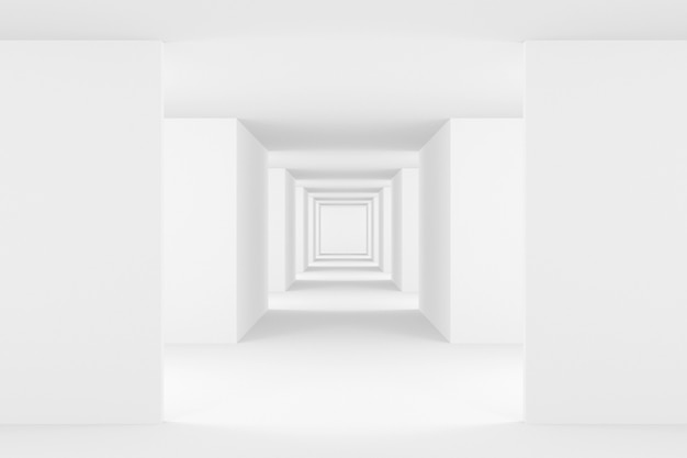 Priorità bassa astratta di disegno interno bianco. rendering 3d. Foto Premium