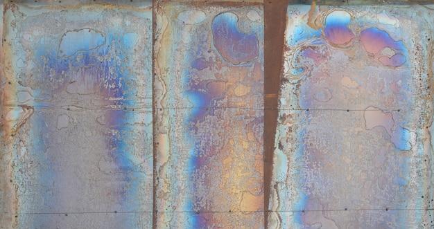 Priorità bassa astratta di struttura di corrosione sulla lamiera di acciaio placcata rame Foto Premium