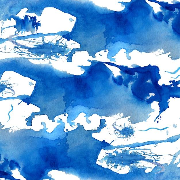 Priorità bassa astratta disegnata a mano dell'acquerello blu. Foto Premium