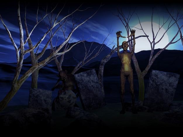 Priorità bassa di halloween 3d con gli zombie in cimitero Foto Premium