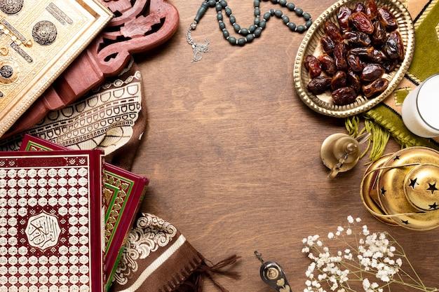 Priorità bassa di legno islamica di nuovo anno di vista superiore Foto Gratuite