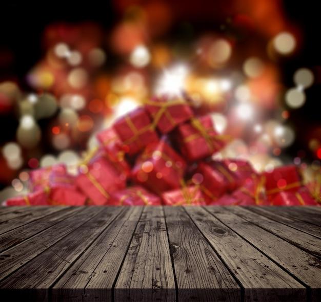 Priorità bassa di natale 3d con la tabella di legno che osserva fuori ad una pila di regali Foto Premium