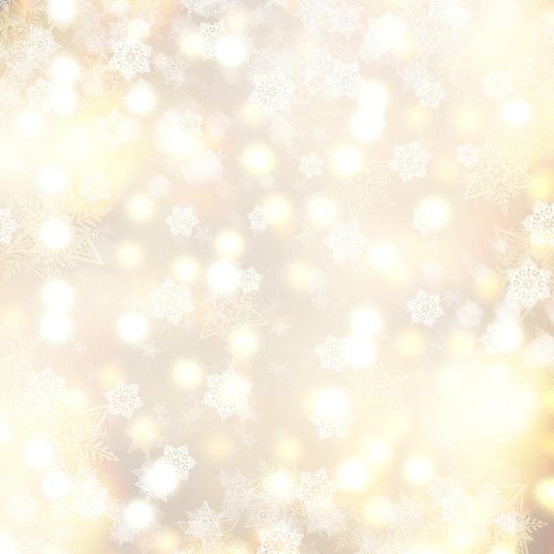 Priorità bassa dorata di natale con i fiocchi di neve e le stelle Foto Gratuite