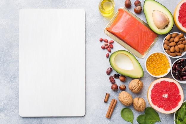 Prodotti antiossidanti alimentari sani Foto Premium