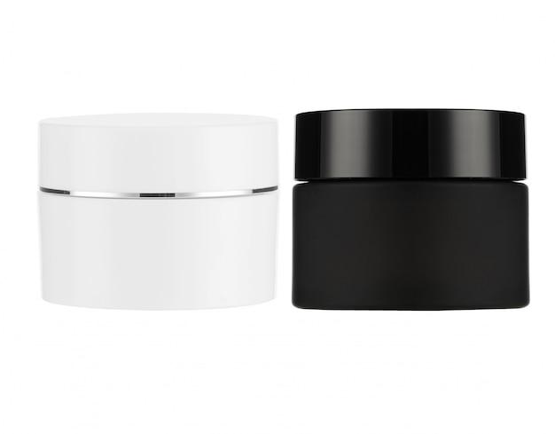 Prodotti cosmetici mock up su uno sfondo bianco. collezione di cosmetici. isolato. Foto Premium
