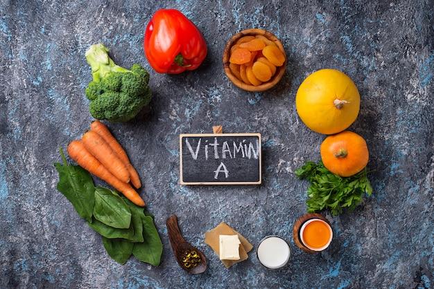 Prodotti sani ricchi di vitamina a Foto Premium