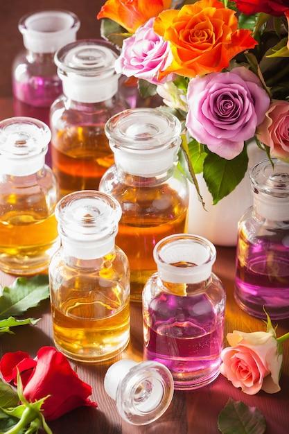 Profumeria spa con olio essenziale e fiori di aromaterapia Foto Premium
