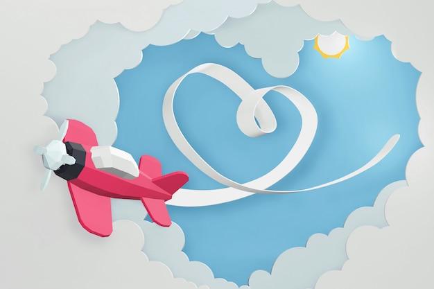 Progettazione della rappresentazione 3d, nastro del cuore con l'aereo rosa che vola nel cielo. Foto Premium