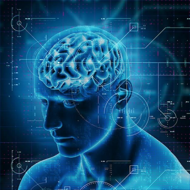 Progettazione di tecnologia medica 3d sopra la figura maschio con il cervello evidenziato Foto Gratuite
