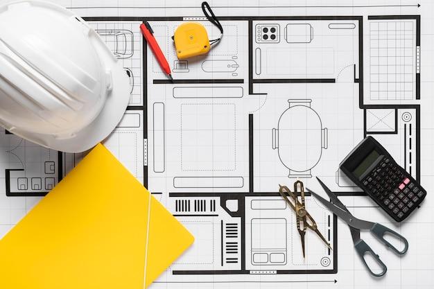 Progetto architettonico con disposizione di strumenti diversi Foto Gratuite