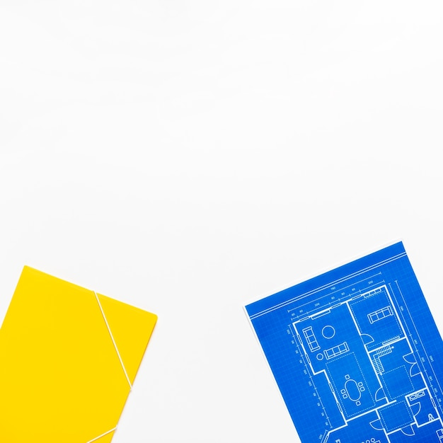 Progetto architettonico su sfondo bianco con spazio di copia Foto Gratuite
