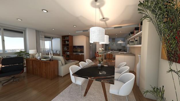 Projec stile loft 3d della casa reso Foto Premium