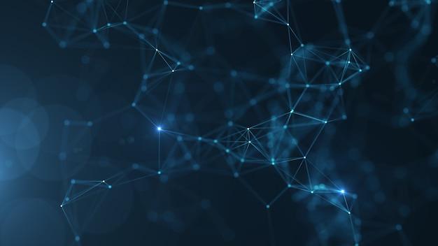 Punti e linee collegati estratto su fondo blu. Foto Premium