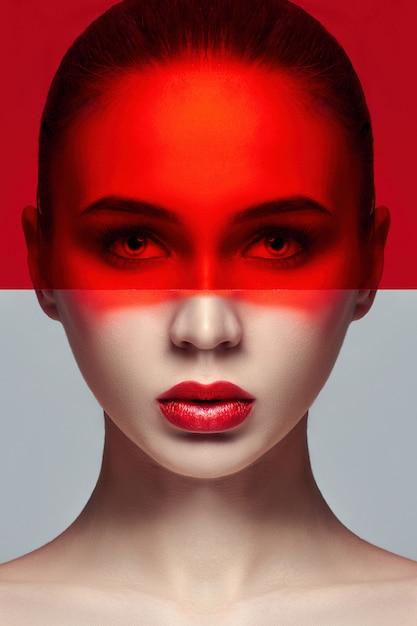 Pura pelle perfetta e trucco naturale, cura della pelle Foto Premium