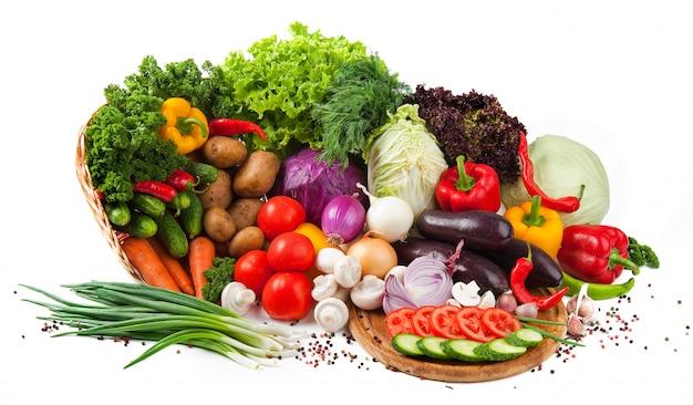 Raccolta frutta e verdura isolato Foto Premium