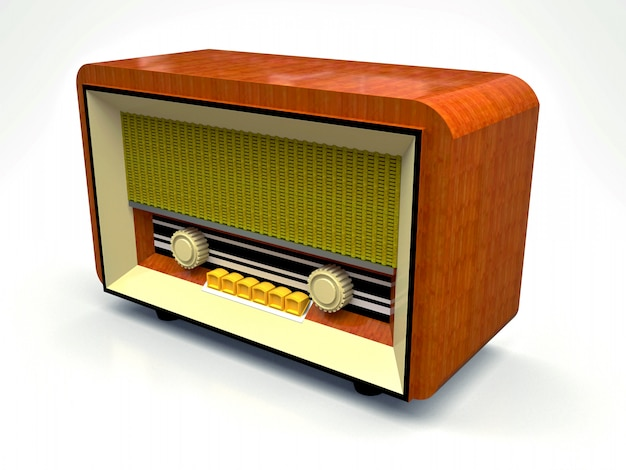 Radioricevitore d'annata vecchio del tubo fatto di plastica di legno e crema su un fondo bianco. vecchia radio della metà del 20 ° secolo Foto Premium