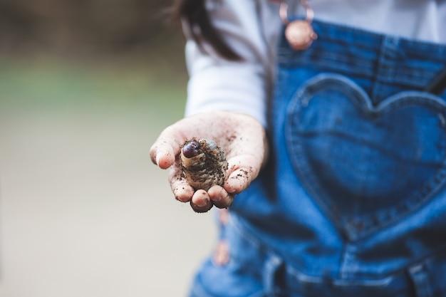 Ragazza asiatica del bambino che tiene le larve dello scarabeo rinoceronte a disposizione con curioso e divertimento Foto Premium