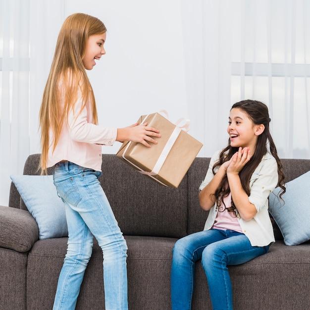 Ragazza guardando amico dando grande scatola regalo avvolto a lei Foto Gratuite