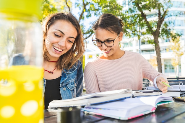 Ragazze che studiano insieme al parco Foto Premium