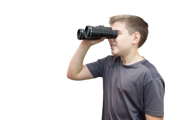 Ragazzo con binocolo Foto Premium
