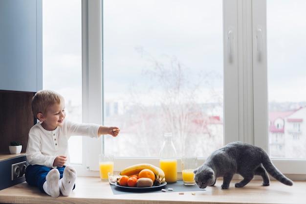 Ragazzo e gatto Foto Gratuite