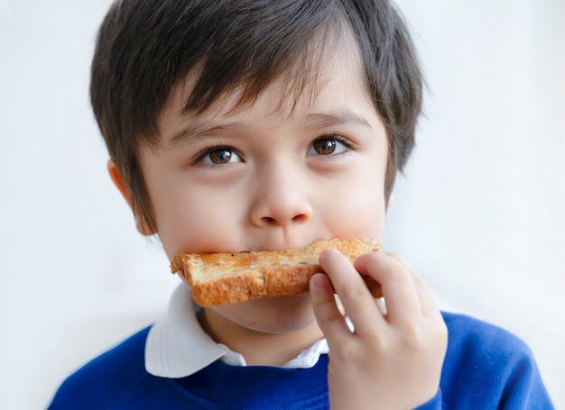 Ragazzo prescolare che mangia miele su tostato per la sua prima colazione Foto Premium