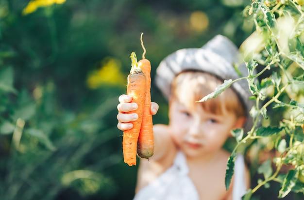 Ragazzo sveglio in cappello e abbigliamento casual che si siedono intorno ai pomodori ang che esaminano macchina fotografica Foto Premium
