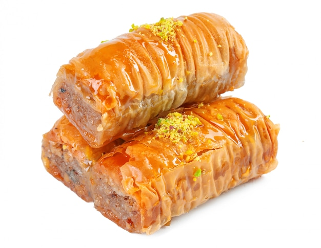 Ramadan dessert baklava turco isolato Foto Premium