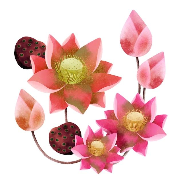 Ramo di fiori di loto Foto Premium