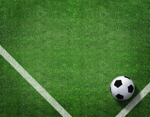 Rappresentazione 3d del pallone da calcio con la linea sul campo di calcio. Foto Premium