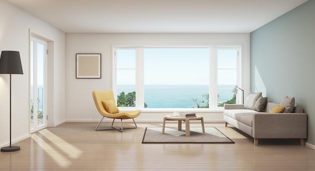 Rappresentazione 3d del salone scandinavo di vista del mare in casa di lusso. Foto Premium