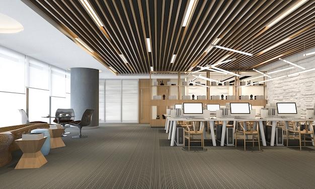 Rappresentazione 3d dell'ufficio moderno di lusso di affari Foto Premium