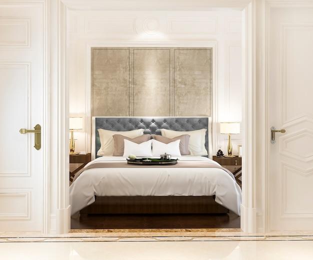 Rappresentazione 3d della camera da letto classica di lusso moderna con la decorazione di marmo Foto Premium