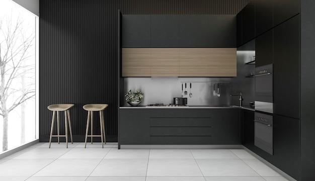 Rappresentazione 3d della cucina moderna di lusso Foto Premium