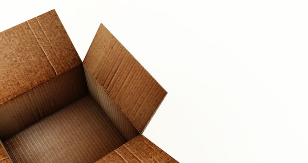 Rappresentazione 3d della scatola di cartone aperta isolata su una superficie bianca. Foto Premium