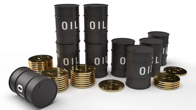 Rappresentazione 3d delle monete di oro e dell'olio di carro armato per il contenuto di benzina. Foto Premium