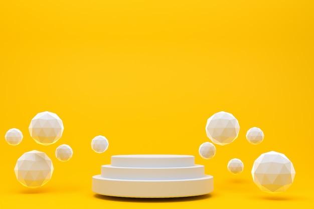 Rappresentazione 3d, fondo arancio astratto minimo del podio bianco per la presentazione cosmetica del prodotto, forma geometrica astratta Foto Premium