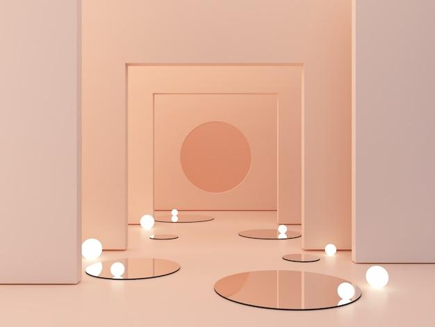 Rappresentazione 3d, fondo cosmetico astratto. mostra un prodotto scena vuota con specchio a cilindro e luci sferiche nel pavimento. Foto Premium